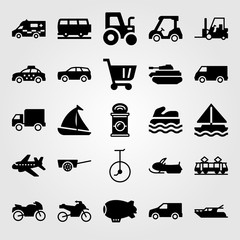 Transport vector icon set. shopping cart, forklift, aeroplane and yatch