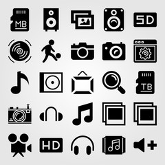 Multimedia vector icon set. photo, frame, picture and browser