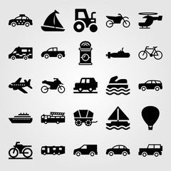 Transport vector icon set. air balloon, aeroplane, pickup and can
