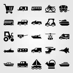 Transport vector icon set. yatch, helicopter, tractor and car