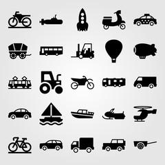 Transport vector icon set. rocket, van, cart and wagon