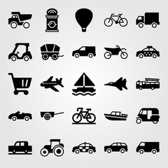 Transport vector icon set. hot air balloon, golf, bicycle and dumper