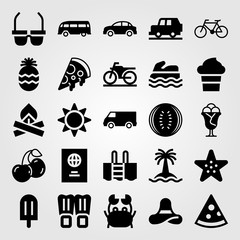 Summertime vector icon set. starfish, bonfire, cherries and truck