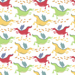 Pattern with cartoon dragons on white background.
