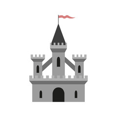 Medieval castle on white background.