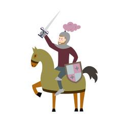 Cartoon knight on horseback on white background.
