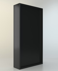 Blank black box in white light studio. 3d rendering.