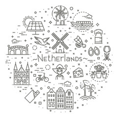 Holland flat icons set