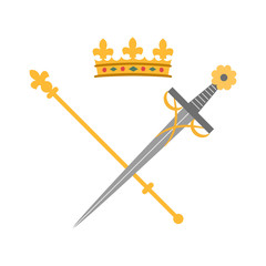 Sword, crown and scepter on white background.
