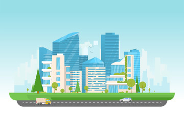 City vector illustration. Small building, big skyscrapers and large smart city tall skyscrapers on background. Urban street with park and trees near cityscape. Metropolis background. Road with cars.