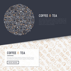 Coffee and tea concept with thin line icons: take away paper cups, cezve, coffee machine, teapot, cappuccino, cup, tea with lemon, grinder. Modern vector illustration for web page, print media.