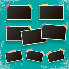 Set of vintage photo frame with shadow isolated on old vintage azure wall. Vector Photo realistic Mockups with empty space for photo. old photo collection