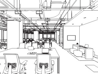 interior outline sketch drawing perspective , office vector eps format.