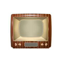 Retro tv with wooden case and blank screen. Isolated on white background.