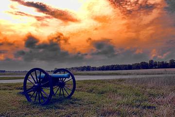 Civil War Cannon and a firey sunset