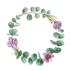Watercolor vector round wreath with eucalyptus leaves and flowers of saffron.