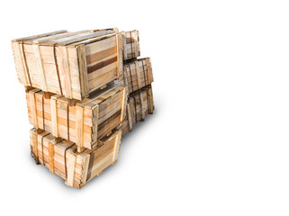 Wood Pallets - crates for transportation - isolated with white background, copy space