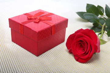 Gift boxes with bow and rose on white background. Decoration for Valentines day.