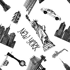 Seamless pattern of hand drawn sketch style New York themed isolated objects. Vector illustration.