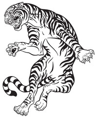 angry tiger in the jump. Black and white tattoo style vector illustration