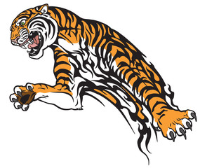 tiger in the jump. Aggressive big cat . Tattoo style vector illustration