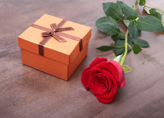 Decoration for Valentines day with Gift boxes and rose on white background.