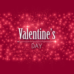 Happy Valentines Day Shining Background with Lights. Vector illustration