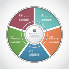 Infographic circle in thin line flat style. Business presentation template with 5 options, parts, steps. Can be used for cycle diagram, graph, round chart
