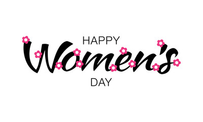 Womens Day typographic lettering isolated on white background with pink flowers. Vector Illustration of a Women's Day card.