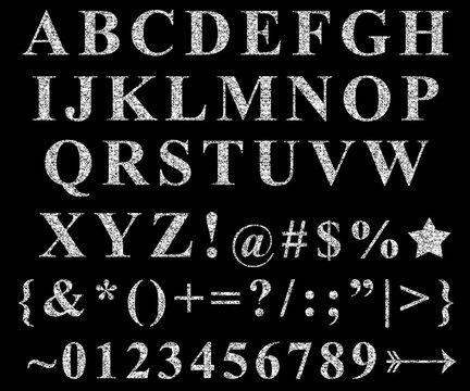 Silver Glitter Alphabet Letters Symbols