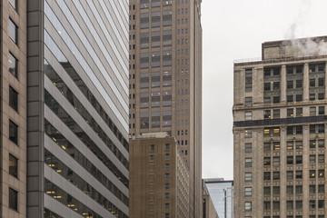 Buildings in urban setting creating geometric shapes