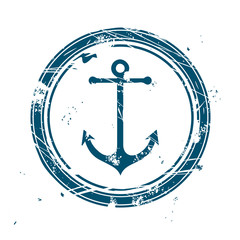 Blue maritime stamp with anchor