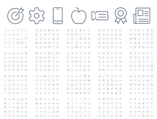 600 vector thin line mini icons set. Thin line simple outline icons, 24x24px grid. Pixel Perfect. Editable stroke.