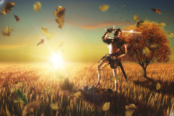 Medieval knight in a field at sunset. 3D illustration.