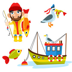 Set of happy fisherman character hold big fish, seagull, fish and boat. Vector flat cartoon illustration