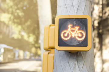 Detail of signboard of bicycle lane or cycle path in Barcelona, Spain