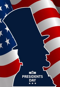 Presidents Day in USA Background. Abraham Lincoln silhouette with flag as background. United States of America celebration. Vector illustration.