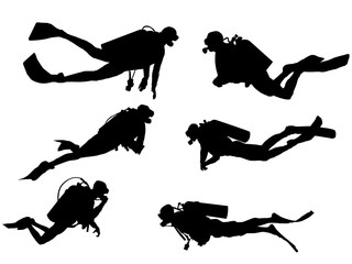 Set of Scuba diving silhouette