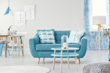 Blue flat interior with sofa
