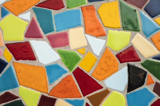 Detail of a multicolored glass mosaic