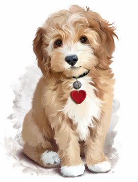 Shaggy yellow puppy watercolor painting