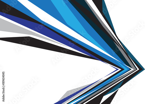 Abstract Blue Black Gray Arrow Polygon On White Blank Space