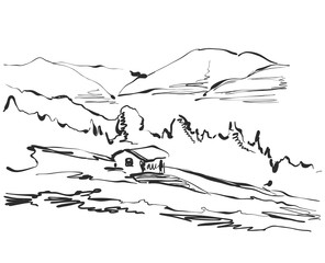 Landscape sketch. Hand drawn tree and house