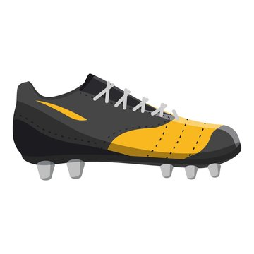 Red and yellow football or soccer shoe icon