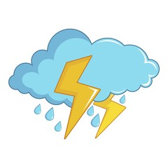Blue cloud with lightnings and rain icon