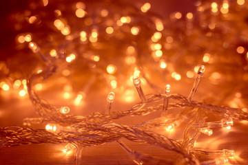 Christmas Lights Garland Blurred Led Bulb Light Background Yellow Lighting Bokeh