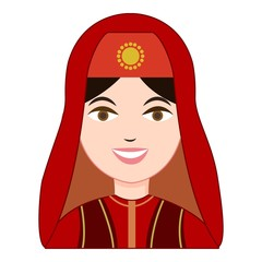 Turk woman in traditional costume icon