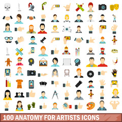 100 anatomy for artists icons set, flat style