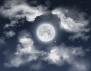 Night sky background with full moon, clouds and shining stars. Realistic vector illustration