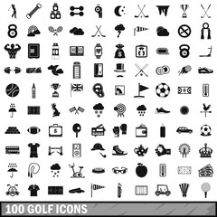 100 golf icons set, simple style